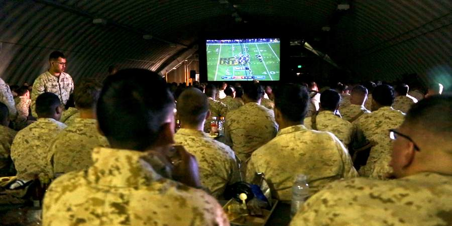 Bob Hope USO Brings the Super Bowl to Isolated Marines Training in the Desert  United Service Organizations [Video]