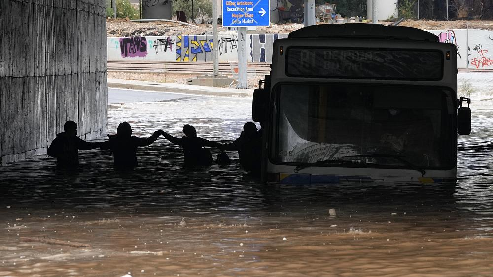 Dozens evacuated on Greek island of Evia after storms and floods [Video]