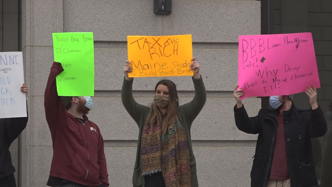 Students, activists rally in front of Congressman Golden's Bangor office in support of Build Back Better spending package [Video]